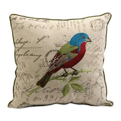 Betsy Embroidered Bird Pillow - The Betsy bird pillow is embroidered with vivid renditions of fanciful and feminine motifs on typographically imprinted linen fabric.