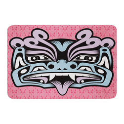 "KESS InHouse - Louie Gong ""Blue Fu Dog"" Memory Foam Bath Mat (24"" x 36"") - These super absorbent bath mats will add comfort and style to your bathroom. These memory foam mats will feel like you are in a spa every time you step out of the shower. Available in two sizes, 17"" x 24"" and 24"" x 36"", with a .5"" thickness and non skid backing, these will fit every style of bathroom. Add comfort like never before in front of your vanity, sink, bathtub, shower or even laundry room. Machine wash cold, gentle cycle, tumble dry low or lay flat to dry. Printed on single side."