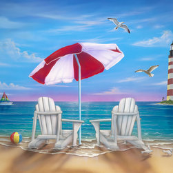 Murals Your Way - Exotic Lighthouse Wall Art - A perfect escape awaits the viewer of this cheerful wall mural