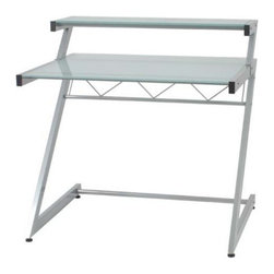 """Eurostyle - Eurostyle Z Deluxe Small Desk in Aluminum & Frosted Glass Top - Small Desk in Aluminum & Frosted Glass Top belongs to Z Deluxe Collection by Eurostyle Heavy duty powder epoxy coated steel frame. Tempered frosted glass desk top and shelves. Keyboard tray and hanging file holder available separately. Other components available to form an """"L"""" shaped desk. Smal Desk w/ Shelf (1)"""