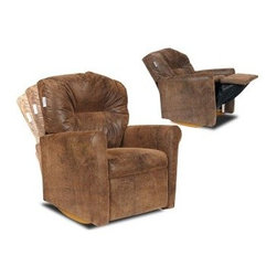 Dozydotes Contemporary Kid Rocker Recliner - Brown Bomber - We want our kids to have it better than us, so let them come home after a hard day of not getting yelled at by their boss and stressing about their upside-down Big Wheel payments and let them kick back on the Contemporary Brown Bomber Child Rocker Recliner. The easy-to-clean micro-suede upholstery is soft to the touch and has a look that's not unlike leather except that it's far easier to clean. Deep foam cushions cover a kid-sized frame that gives them wide arms, a high back and the kind of support and comfort that's just their size. A simple push on the seat back gets the reclining going, but they can enjoy the gentle rocking motion while sitting up or leaning back. We recommend this chair for children from ages two to nine.About DozydotesDozydotes' mission is to bring joy to children and confidence to shoppers, which Dozydotes achieves by offering exclusive designs and high quality products. The brainchild of experienced mother Rene Campbell and elementary educator Alisa Clark-Slodoba, Dozydotes aims to bring smiles to the faces of children and parents alike with fun, creative products. Designed with kids in mind, Dozydotes recliner chairs are miniature versions of the real thing and are equally attractive, meaning your child will have a custom-sized chair that will look great in your home.
