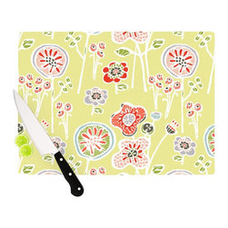 """Kess InHouse - Gill Eggleston """"Folky Floral Lemon"""" Green Yellow Cutting Board (11.5"""" x 15.75"""") - These sturdy tempered glass cutting boards will make everything you chop look like a Dutch painting. Perfect the art of cooking with your KESS InHouse unique art cutting board. Go for patterns or painted, either way this non-skid, dishwasher safe cutting board is perfect for preparing any artistic dinner or serving. Cut, chop, serve or frame, all of these unique cutting boards are gorgeous."""