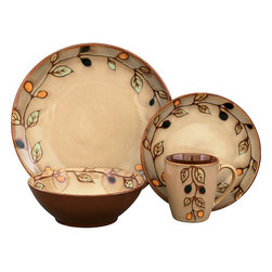 Sango - Sango Vineyard 16-piece Dinnerware Set - Earthy colors and a vineyard-inspired vine and leaf pattern give this vibrant 16-piece dinnerware set a classically hand-painted look. In durable stoneware, this casual four-setting collection is microwave- and dishwasher safe, encouraging everyday use.