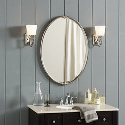 Ballard Designs - Mercer Bath Mirror - Hand finished in Oil Rubbed Bronze or Polished Nickel. Beveled glass. Coordinates with Mercer Vanity Sconce. Turned details at the top and bottom of our Mercer Bath Mirror's handcrafted steel frame add modest embellishment to the elegantly clean design. Available in your choice of two classic finishes, this mirror works in virtually any bathroom or dressing area. Pair it with our Mercer Vanity Sconce. Mercer Bath Mirror features: . . .