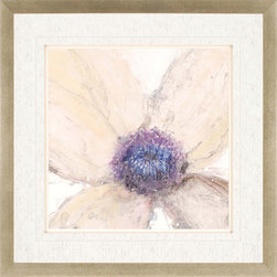 Paragon Decor - Flower Flow I Artwork - Delicate floral bloom features raised matting.  Framed in silver leaf wood with red edge highlights.