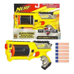 KOOLEKOO - Nerf N-Strike Maverick Case - Ready, aim, fire! This baby is whole bunches of fun for kids at home or adults in the office. The Maverick blaster features a 6-dart rotating barrel with easy flip loading so you don't waste time as you blast away at your opponents, and its rapid launching action increases your battle speed and accuracy. Other features include a pullback mechanism and auto-advancing barrel. The air-powered Maverick comes with 6 Nerf darts and instructions. For an awful lot fun for a little bit of money, get one for yourself or give it as a gift! Or both!