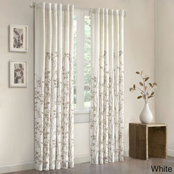 Madison Park Aramo Curtain Panel, White - The icy white background of these curtains feels like winter, but the vine pattern gives off a hint of spring. Perfection!