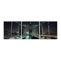 Elementem - Brooklyn At Night Print - This frameless triptych photograph of Brooklyn at Night is printed on vinyl and mounted on a wooden MDF frame.   We laminate over each of our photos to allow them to be easily cleaned and protected.  Packed with wall hangers, they are easy to install.