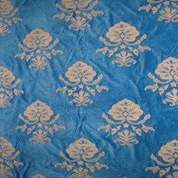 Crewel Fabric Konark White on Royal Blue Cotton Velvet- Yardage - Fabric Type: Cotton Velvet