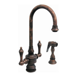 Whitehaus - III 5.25 in. Dual Handle Faucet (Antique Copp - Color: Antique CopperPictured in antique copper. Entertainment and prep. Single hole. Short gooseneck swivel spout. Lever handles. Solid brass side spray. 5.25 in. L x 8.75 in. H (10 lbs.). Warranty