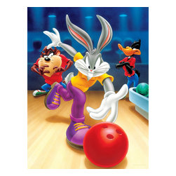 Oriental Furniture - Bugs, Daffy and Taz Bowling Wall Art - Let's go bowling with Bugs Bunny, Daffy Duck, and the Tasmanian Devil! This limited edition canvas art print features the three competitive friends in crisp, vibrant graphics, and is a perfect accent to your playroom or entertainment center. The authentic print is professionally reproduced onto artist quality canvas, stretched over a sturdy mitered wood frame, and ready to hang right from the box.