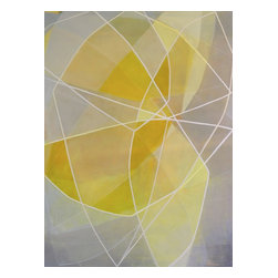 """Blueprint (Botanical) Daffodil , Original, Painting - """"BLUEPRINT (botanical) Daffodil - Acrylic and Colored Pencil on Canvas, 48""""""""Hx36""""""""W  This painting is from the Blueprint Series that draws out the structure and lines that are part of my painting process.  The white lines are inspired by the long and graceful branches I see weaving through the landscape combined with the color and organic shape of a yellow daffodil.  BLUEPRINT (botanical) Daffodil was included in my solo painting show ??Connecting the Dots: One Year in the Studio?? in July 2014.  +Canvas is a 1-3/4"""""""" deep Gallery Wrap style +Edges are painted crisp white  +Painting is wired on the back and ready to hang. +A custom wooden shipping crate will be specially made for this canvas to ensure that it arrives to you safely.  A screwdriver will be needed to open the crate upon arrival. """""""