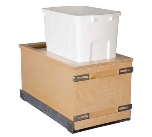 """Century Components - Century Components 50 Qt Single Soft Close Pull Out Waste Bin - Birch, 11-7/8"""" - 50 Qt Single Soft Close Blum Bottom Mount Kitchen Pull Out Waste Bin Container - 11-7/8""""W x 23-5/8""""H x 22-1/2""""D. This unit is designed to be inserted into a new or existing cabinet with an opening width of 12""""-15"""". Century Components CASBM11PF-50 is made from Baltic Birch Plywood with Dovetail Construction and a clear natural finish for great appearance, quality and durability."""