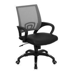 Flash Furniture - Ergonomic Mesh Back Chair - Ergonomically contoured back. Nylon arms. Black leather seat. Foam padding over plywood seat. Pneumatic seat height adjustment. Heavy duty nylon base. Chrome plated accents on base. Spring tilt control mechanism. Tilt tension control. Dual wheel casters. Warranty: 2 year limited. Assembly required. Back: 19.75 in. W x 19.75 in. H. Seat: 19 in. W x 21 in. D. Seat Height: 17.5 - 20.75 in.. Arm Height from Floor: 24.5 - 27.75 in.. Arm Height from Seat: 6.75 in.. Overall: 24.5 in. W x 22.5 in. D x 36.25 - 39.5 in. H (29 lbs.)