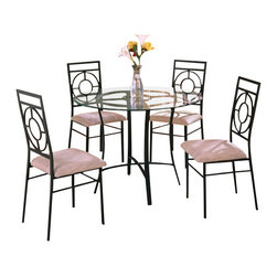 "AD9185 - 5-Piece Metal and Glass Dining Table Set with Fabric Upholstered Seat Chairs - 5-piece metal and glass dining table set with fabric upholstered seats. Table measures 42"" Dia x 30"" H. Side chairs measure 42"" H to the back. Some assembly required."