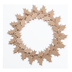 Cardboard Safari - Holly Wreath, Brown - Our recycled Wreaths are perfect for decorating your home or business. Our white cardboard is especially easy to paint or decorate using markers, glitter and other craft materials.