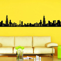 StickONmania - Very Large Cityscape Sticker - A cool vinyl decal wall art decoration for your home  Decorate your home with original vinyl decals made to order in our shop located in the USA. We only use the best equipment and materials to guarantee the everlasting quality of each vinyl sticker. Our original wall art design stickers are easy to apply on most flat surfaces, including slightly textured walls, windows, mirrors, or any smooth surface. Some wall decals may come in multiple pieces due to the size of the design, different sizes of most of our vinyl stickers are available, please message us for a quote. Interior wall decor stickers come with a MATTE finish that is easier to remove from painted surfaces but Exterior stickers for cars,  bathrooms and refrigerators come with a stickier GLOSSY finish that can also be used for exterior purposes. We DO NOT recommend using glossy finish stickers on walls. All of our Vinyl wall decals are removable but not re-positionable, simply peel and stick, no glue or chemicals needed. Our decals always come with instructions and if you order from Houzz we will always add a small thank you gift.