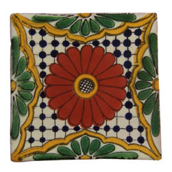 "Casa Daya Tile - 12 Hand Painted Made to Order Talavera Tile Set - Set of twelve 4"" x 4"" tiles for your craft or construction project."