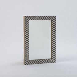 Parsons Wall Mirror, Gray Herringbone - The frame of this one really adds life to a wall. It's not your average mirror, that's for sure.