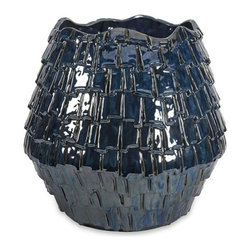 "IMAX - Shelton Indigo Planter - With a leather semblance, the Shelton Indigo Planter's unique texture gives any space a vibrant look.  Item Dimensions: (18.25""h x 18.5""w x 18.5"")"