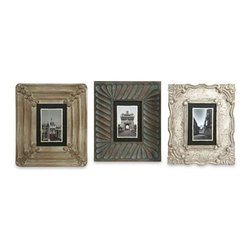 Aiden Hand Carved Frames - Set of 3 - Great for displaying travel photos or your favorite people, this set of frames are hand carved and blend effortlessly with a variety of decor!
