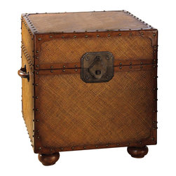 Tommy Bahama Home - East Cove Trunk - Woven body with leather strapping. Nailhead trim. Lift lid for access to legal, letter size files. Removable partitioned storage tray. Printed map interior. Large decorative hardware. Metal corners. Padded leather handle. Warranty: One year. Made from maple veneers and select hardwood solids. Lightly distressed warm umber finish. 24.5 in. W x 24.5 in. D x 26 in. H (78 lbs.). Special Care Instruction from Lexington FurnitureIsland Estate lends inspiration to tropical design through a rich blending of natural materials, textures and exciting new finish colors. Designs for the whole home encompass an eclectic mix of British Plantation and refined Caribbean styling, with a playful dose of exotic island fun. Wherever the locale, Island Estate embodies a lifestyles that is elegant and refined, yet casual and cool.