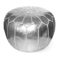 Ikram Design - Metallic Silver Moroccan pouf - Cheerful and functional, our Moroccan poufs blend perfectly in any decor whether it is ultra modern or classic, Each piece is well crafted to provide the modern look and the reliable service for many years, you will absolutely find the pouf suitable for your own space.These gorgeous pieces will brighten your place and become your work of art, They come pre-stuffed with filling fiber.