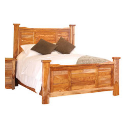 Artisan Home Furniture - Artisan Home Guamuchil Panel Bed in Natural - California King - Heavy, solid wood provides a rich look with a natural two-tone. finish enhances and protects natural beauty of wood. Adds value and intrinsic detail completes the Artisan look. Durable, smooth operating drawers.