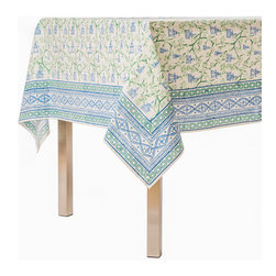 Origin Crafts - Pagoda blue/green tablecloth - Pagoda Blue/Green Tablecloth Our East Asia inspired Pagoda pattern is a perfect fall tabletop addition. Block printed in cool shades of blue and green, they're sure to be a nice addition to any dinner party. 100% Cotton, block printed. Machine wash, tumble dry low, warm iron as needed. Made in