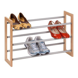 Honey Can Do - Honey Can Do 3 Tier Expandable Wood and Metal Shoe Rack Multicolor - SHO-01372 - Shop for Closet from Hayneedle.com! Keep your kicks comfortable on the Honey Can Do 3 Tier Expandable Wood and Metal Shoe Rack. This rack features powder-coated steel tubes for additional strength and a simple wood frame. Designed to be accommodating this shoe rack can be expanded in width to make room for more shoes or stacked one on another for vertical expansion. It's a perfect addition to your shoe collection and can be assembled without using any tools.About Honey-Can-DoHeadquartered in Chicago Honey-Can-Do is dedicated to helping you organize your life. They understand that you need storage solutions that are stylish and affordable at the same time. Honey-Can-Do focuses on current design trends and colors to create products that fit your decor tastes while simultaneously concentrating on exceptional quality. When buying a Honey-Can-Do product you can be sure you are purchasing a piece that has met safety control standards and social compliance methods.