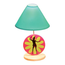 "Flower Power Lamp - Our Flower Power lamp has  a girl silhouette dancing against a retro style pink and lime green daisy. 18"" high. Natural finish solid wood base. Aqua lampshade."