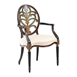 """Inviting Home - Hand-painted English Style Armchair - Hand-painted English style beechwood armchair; seat is 24-3/4""""W x 22""""D x 20""""H; back is 41""""H; arms are 27-3/4""""H; hand-crafted in Italy; Hand-painted English style chairs with carved oval back-splat antiqued black and green finish on the front and the back. Chairs have a gold leaf accents and ivory upholstery. These carved wood chairs are hand-crafted in Italy."""
