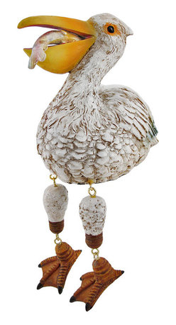 Zeckos - White Pelican with Fish Dangler Shelf Sitter - Add a unique accent to any shelf or desk in your home or office with this darling dangler. It features a white pelican with its catch of the day, and measures 5 1/4 inches tall, 5 1/2 inches long, and 3 1/4 inches wide. It is made of cold cast resin and hand painted. This piece is a great gift for anyone with beach themed decor, and is sure to start a conversation.