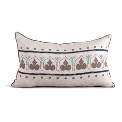 Kathy Kuo Home - Danvers Seafoam Green Natural Hand Embroidered Rectangular Pillow - Hand embroidered pillows in linen and silk are sumptuously oversized and generously filled with down and feathers - tossed on a bed or a gathered on a sofa, create a lasting personal touch.