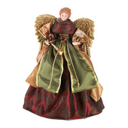 Gifts Galore - Christmas Angel Doll & Tree Topper - Deck your tree with this gorgeous angel tree topper.  She has sparkling golden wings with delicate details, and she's holding a golden horn.