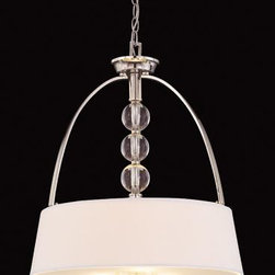 Joshua Marshal - Three Light White Shade Polished Nickel Drum Shade Pendant - Three Light White Shade Polished Nickel Drum Shade Pendant