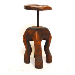Biomorphic Free Form Tree Trunk Sculpture - Vintage Biomorphic free form tree trunk sculpture stool with carved adjustable saddle seat. Original sculpture from 1 piece of wood with a Henry Moore style. Signed and dated by artist. Very heavy and solid conversation art piece that functions as a chair! Excellent condition with minor scratches on seat. Amazing patina on vintage wood.