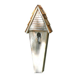 Heartwood - Air Castle Bird House White - Whimsical  birdhouse,  painted  white  with  hand-applied  cypress  roof  shingles.  So  attractive,  you'll  want  one  of  each  color.