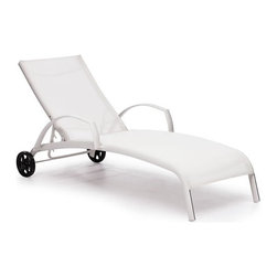 ZUO - Casam Chaise Lounge - White - Sleek and modern, the Casam Lounge Chair has convenient wheels for following the sun. The frame is made of aluminum and the cover is a durable polyester mix that withstands UV rays and water. Comes in white or black and silver.