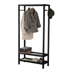 Adarn Inc - Black Free-Standing Black/White Woodend 2-Tier Storage Clothing Shoe Rack - Features: