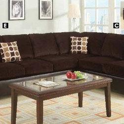 Poundex Furniture – U-Shaped Modular Microfiber Sectional Sofa - F7233/F7232/F72 - Set Includes 3 Seater, 2 Seater And Ottomon