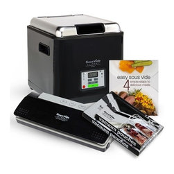 Sous Vide Supreme - Sous Vide Supreme Demi Water Oven, Vacuum Sealer, Bags & Book Pack - Combo Pack includes:- SousVide Supreme Demi Water Oven, 9 qt. model PSV-00145- SousVide Supreme Vacuum Sealer model SVV-00200 (includes 10 vacuum seal Pouches)- SousVide Supreme Vacuum Pouches, one box of quart size and one box of gallon size- Easy SousVide Cookbook, Soft Cover, 64 pagesSousVide Supreme makes it easy to prepare gourmet meals in under 30 minutes hands-on time, all with incredible flavors and nutritional benefits.Precise temperature control to 1 degree Fahrenheit (0.5 degrees Celsius) Easy to use, few steps, time-saving meal preparationUnit can set it and walk away, includes timerVirtually impossible to overcook a meal, keeps the original flavor of foodsAdded nutritional value. Natural juices and nutrients are retained while cooking in the vacuum seal bagTenderizes inexpensive cutsEasy clean-up, pots and pans are not requiredEnergy-efficient and silent operation, uses energy equivalent to a 60 watt light-bulb