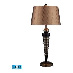 Dimond Lighting - Dimond Lighting D1738-LED Laurie 1 Light Table Lamps in Dunbrook And Dark Wood - Laurie Table Lamp In Dunbrook Finish With Bronze Tone On Tone Faux Silk Shade - Light Bronze Fabric Liner- LED Offering Up To 800 Lumens (60 Watt Equivalent) With Three Way Capabilty. Includes An Easily Replaceable LED Bulb (120V)