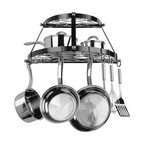 """Range Kleen - 2 Shelf WallMount Blk Pot Rack - 2 Shelf Wall Mount Black wrought iron and stainless steel Pot Rack  includes 3 wall anchors  8 pot hooks  pot rack dimensions 12"""" H x 24"""" W x 11"""" D  This item cannot be shipped to APO/FPO addresses. Please accept our apologies."""