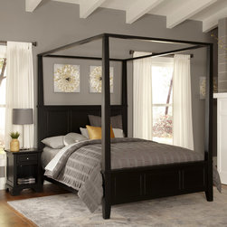 None - Bedford King Canopy Bed and Night Stand - Unadorned details such as the straight and curved lines,and slightly flared legs create the contemporary style of the Bedford King Canopy Bed and Night Stand by Home Styles. This set is made of hardwood solids and engineered wood in a black finish.