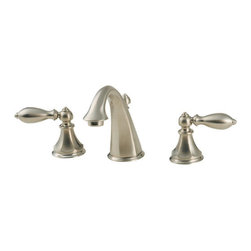 "Pfister - Pfister F-049-E0BK Brushed Nickel Catalina Catalina Widespread - Catalina Widespread Bathroom Sink Faucet Low LeadCatalina Island, right off the Southern California coast, has its own unique style. Pfister pays homage to this style with its Catalina collection of kitchen and bathroom products. These solid brass fixtures bring a splash of romantic artistry to the home with sweeping curves and modest lines. The high-arc kitchen faucet leaves plenty of room in the sink for a number of tasks, the handles are ADA compliant, and itÂ's available with an optional pullout spray. Rejuvenate the bathroom with gorgeous faucets and fixtures for the entire space. Double handle bathroom faucets complement a Roman tub filler, as well as tub and shower fixtures and a number of coordinated accessories, like robe hooks, towel bars, and tissue holders. Available in up to three finishes.All brass faucet body construction - Weight: 4.9 LBSWidespread mounting for 8"" - 12"" centers, 3 hole installations2 metal lever handles includedADA compliantIndustry leading, lifetime ceramic disc valvePop up drain and assembly includedOverall height: 5.4375"" (measured from counter top to highest point of faucet)Spout height: 3.6875"" (measured from counter top to spout outlet)Spout reach: 4.4375"" (measured from center of faucet base to center of spout outlet)WaterSense certified - 1.5 gallon-per-minute flow rateInstalls onto decks (counter tops) up to 1.5"" thickLow lead compliant - complies with CA and VT low-lead requirements for plumbing productsDesigned for use with standard US plumbing connectionsAll necessary mounting hardware includedFully covered under Pfister s Pforever Lifetime WarrantyAbout PfisterFounded in 1910, Pfister (previously known as Price Pfister) is one of AmericaÂ's oldest and most experienced plumbing companies. As the first faucet manufacturer in the wo"