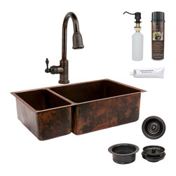 "Premier Copper Products - 33"" Copper Kitchen 25/75 Sink w/ ORB Faucet - PACKAGE INCLUDES:"