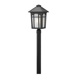 Hinkley Lighting - 1989BK Cedar Hill Outdoor Post Lamp, Black, White Linen Glass - Traditional Outdoor Post Lamp in Black with White Linen glass from the Cedar Hill Collection by Hinkley Lighting.