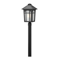 Hinkley Lighting - 1989BK Cedar Hill Outdoor Post Lamp, Black, White Linen Glass - Traditional Outdoor Post Lamp in Black with White Linen glass from the Cedar Hill Collection by Hinkley Lighting.