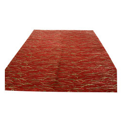 1800-Get-A-Rug - Red Modern Nepali Hand Knotted Rug Wool and Silk Sh12049 - About Modern & Contemporary